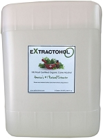 Extractohol-O 190 Proof Certified Natural Organic (Food Grade) Cane Alcohol -Five Gallon