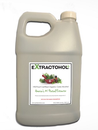 Extractohol 1Gal 190 Proof Certified Natural Organic Cane Alcohol (+ 8 oz extra- Free!)